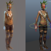 Comparison - the fully rigged character! Rendered image (l.) and screenshot taken out of Maya (r.).