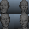 These were the first Face Rig tests I did to check the skin deformation.