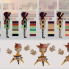 Color ID test for different colored environments (top), as well as concepts for the first toy used in the game (bottom). | Made by Caty D.B.